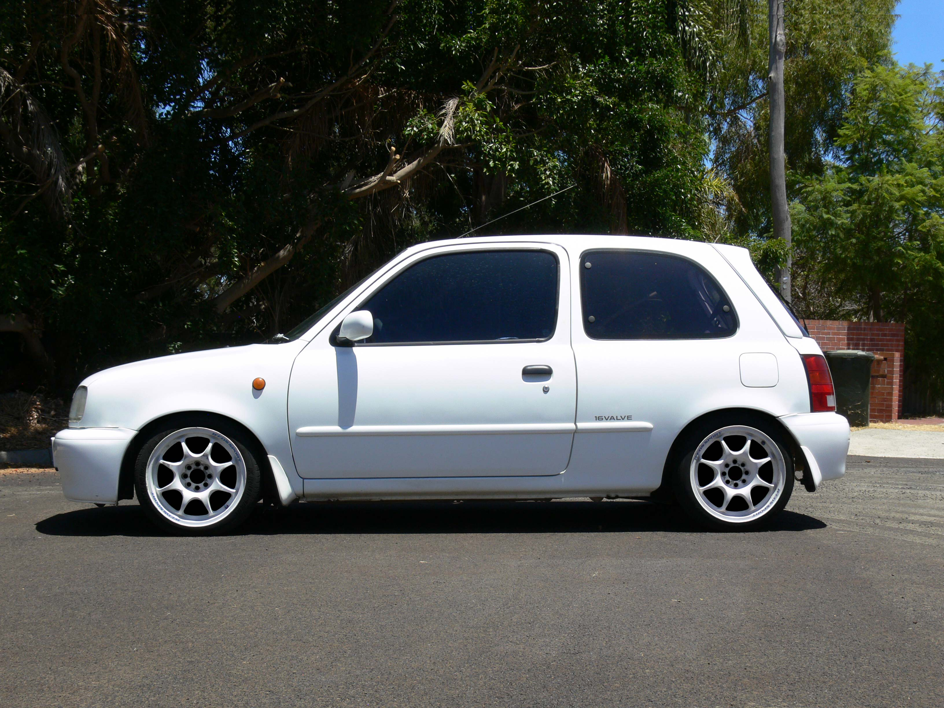 K11 Micra with White 15x6+30 Weds Sport TC-05 (Photoshopped)
