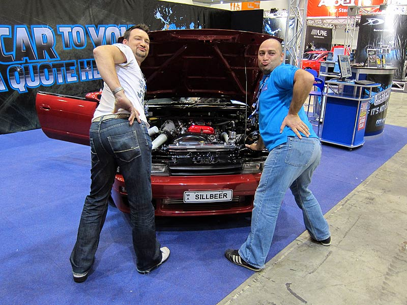 Just Car Insurance male promo models Simon and Brendan at Perth Autosalon 2010