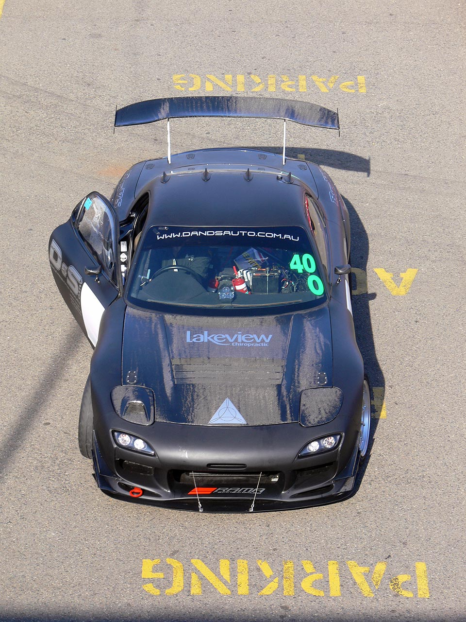 An overhead shot of one of the RAMA Racing Mazda FD RX7's