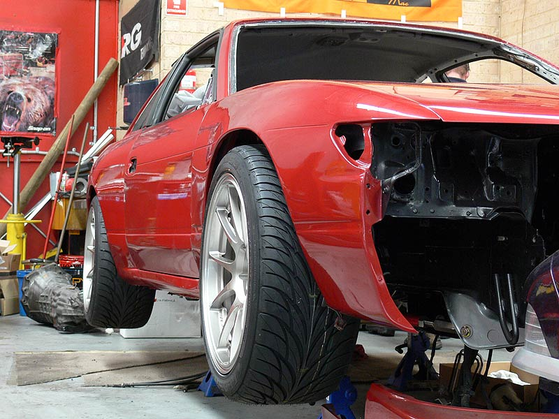 WedsSport TC105N Fitted with Tyres - S13 Front View